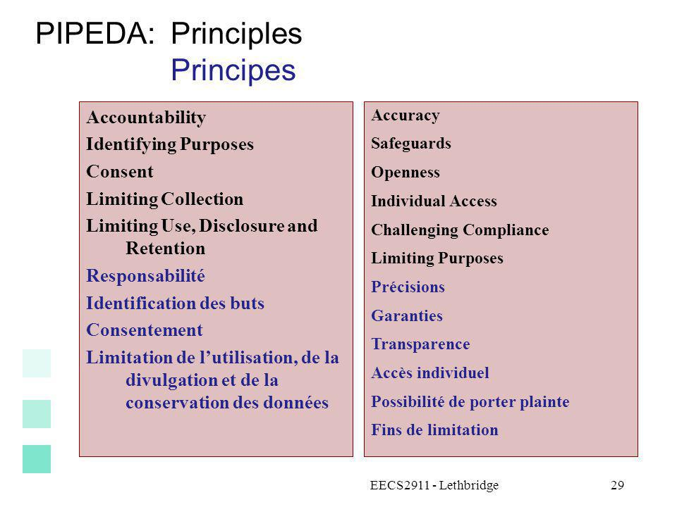 PIPEDA: Principles Principes Accountability Identifying Purposes