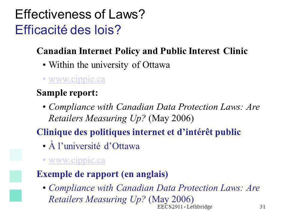 Effectiveness of Laws Efficacité des lois