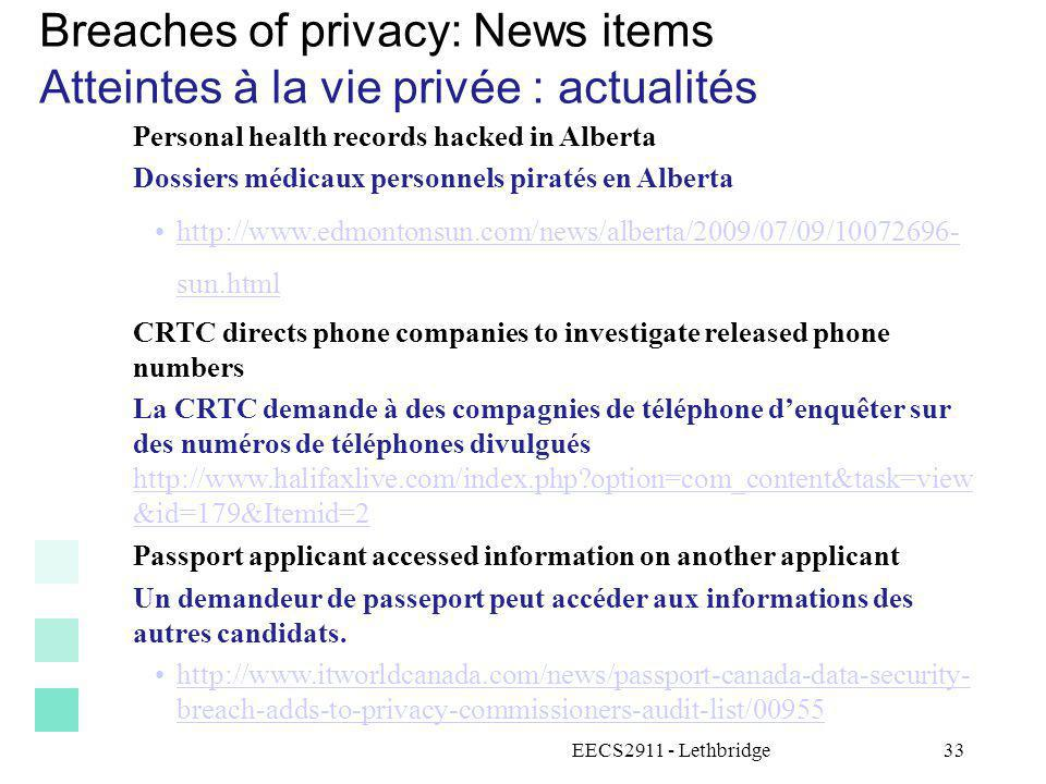Breaches of privacy: News items Atteintes à la vie privée : actualités