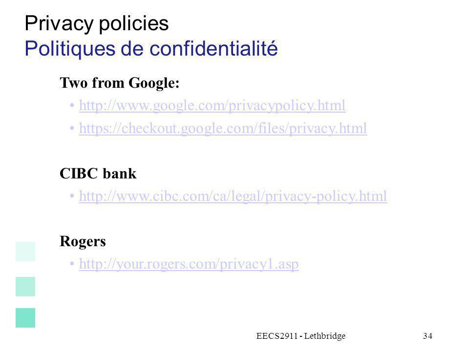 Politiques de confidentialité