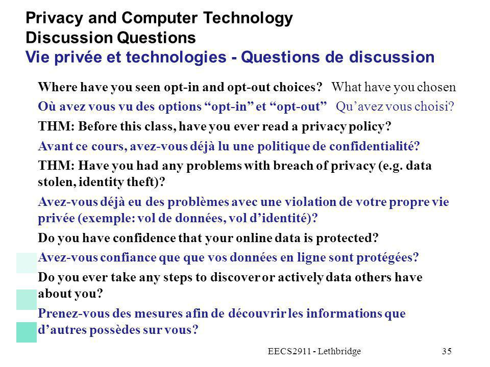 Privacy and Computer Technology Discussion Questions