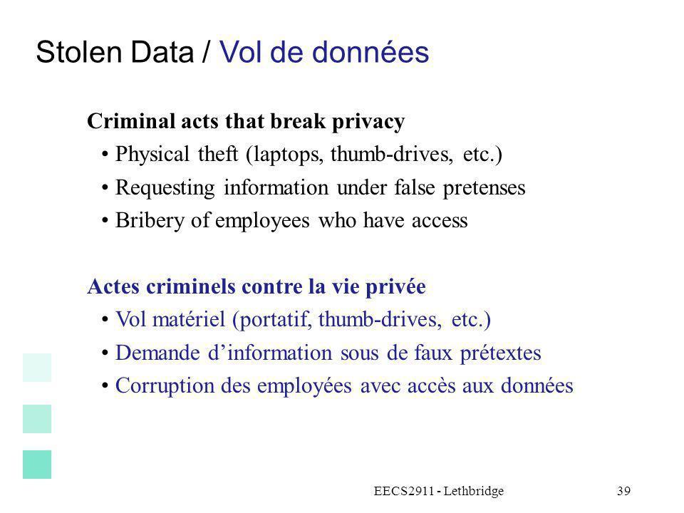 Stolen Data / Vol de données