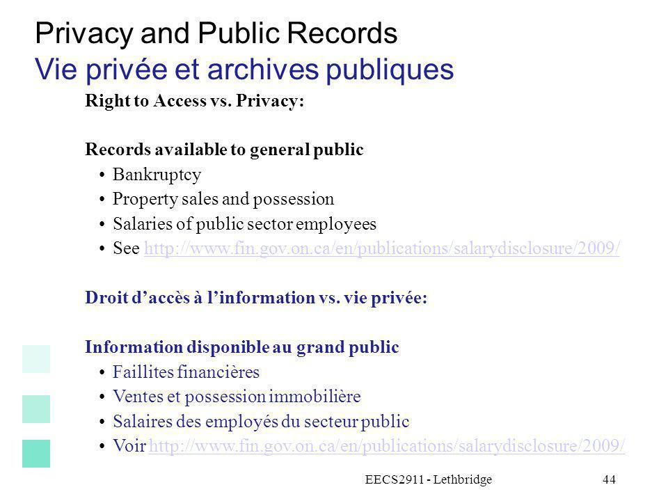Privacy and Public Records Vie privée et archives publiques