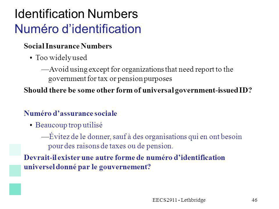 Identification Numbers Numéro d'identification