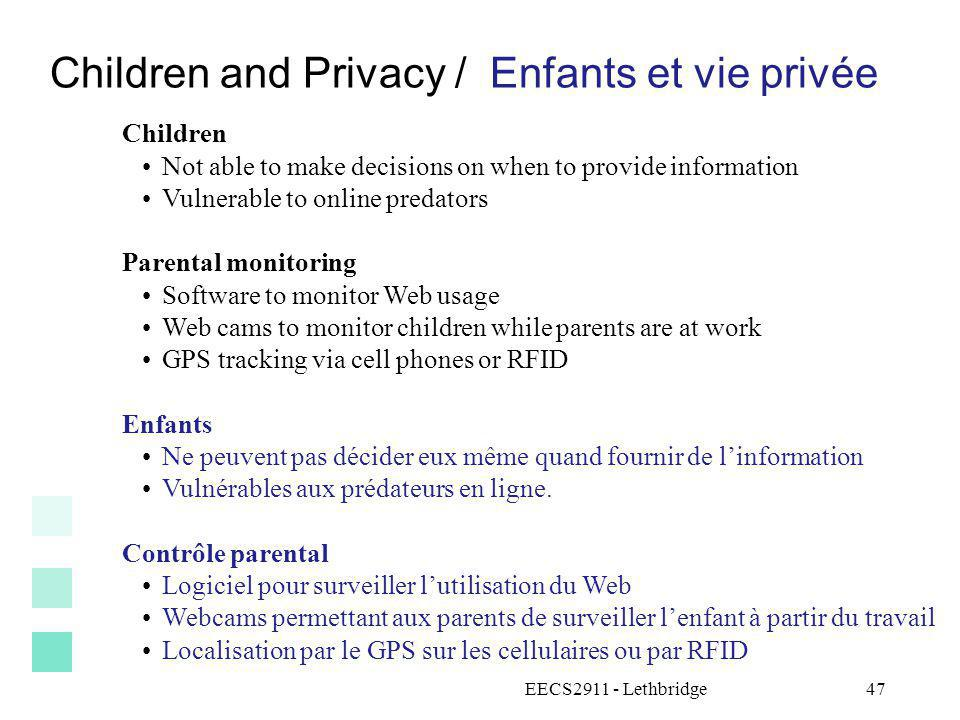 Children and Privacy / Enfants et vie privée