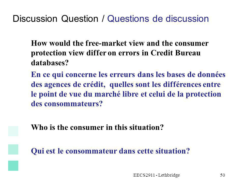 Discussion Question / Questions de discussion