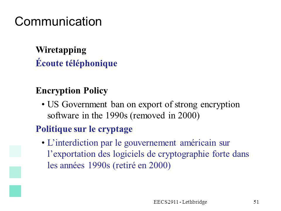 Communication Wiretapping Écoute téléphonique Encryption Policy