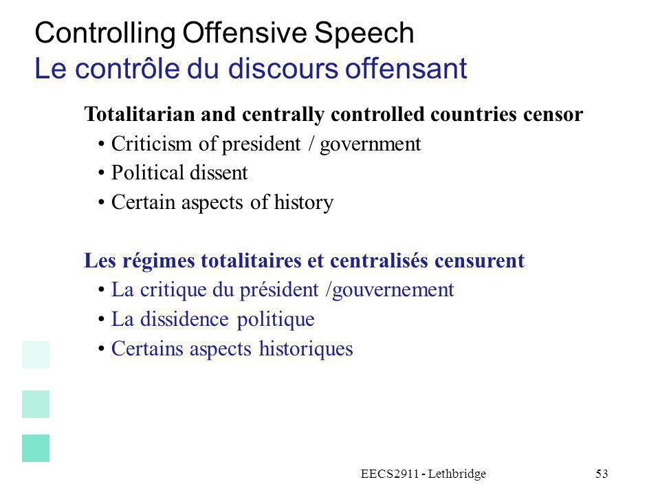 Controlling Offensive Speech Le contrôle du discours offensant