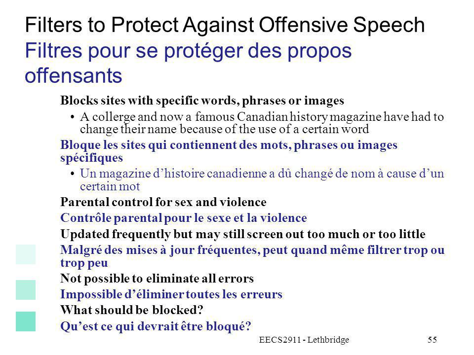 Filters to Protect Against Offensive Speech