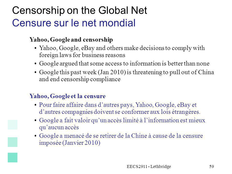 Censorship on the Global Net Censure sur le net mondial