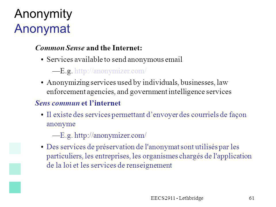 Anonymity Anonymat Common Sense and the Internet: