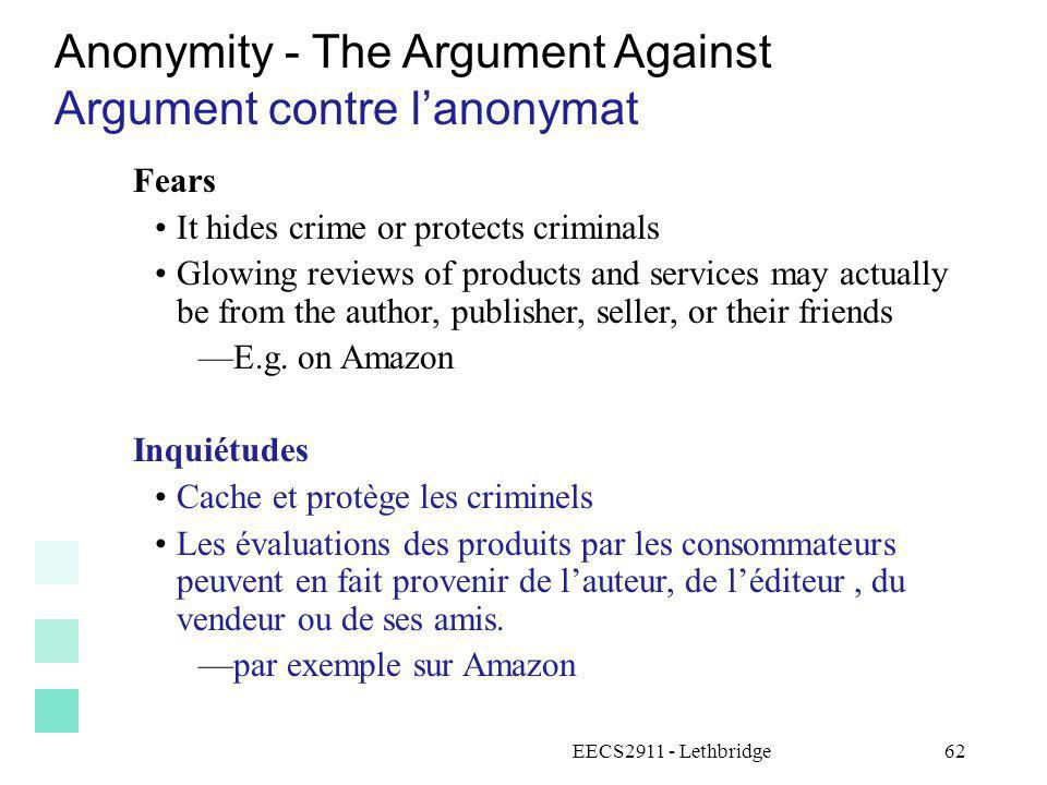 Anonymity - The Argument Against Argument contre l'anonymat