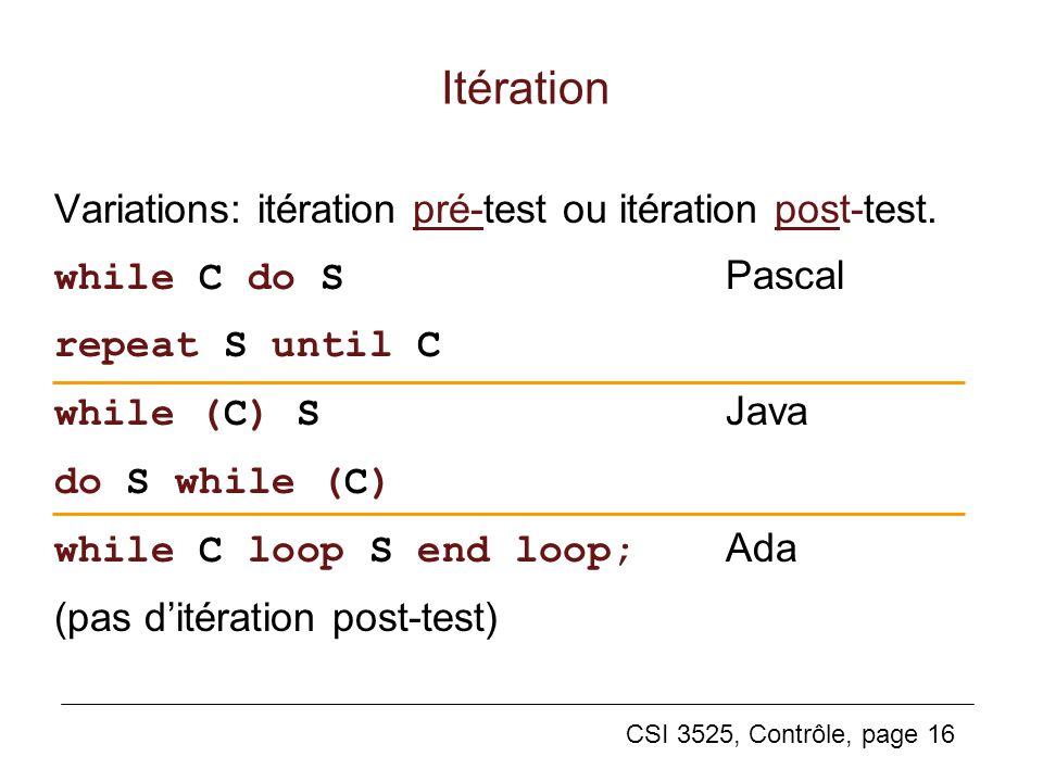 Itération Variations: itération pré-test ou itération post-test.