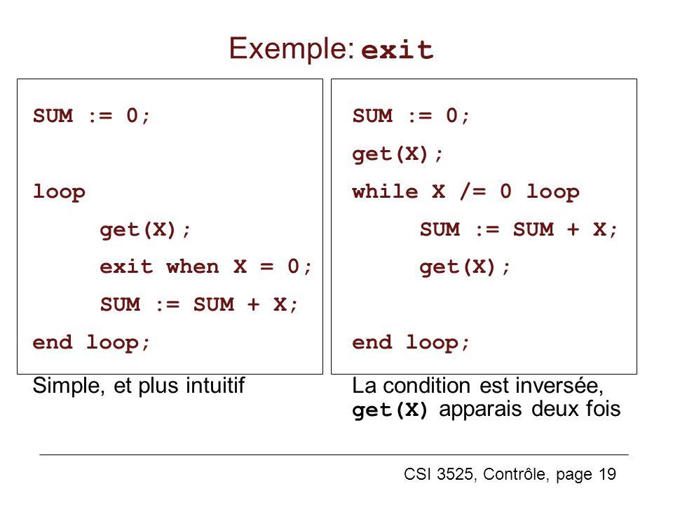 Exemple: exit SUM := 0; loop get(X); exit when X = 0; SUM := SUM + X;