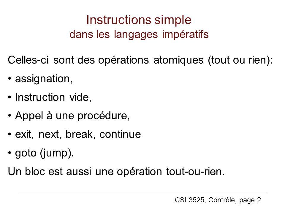 Instructions simple dans les langages impératifs