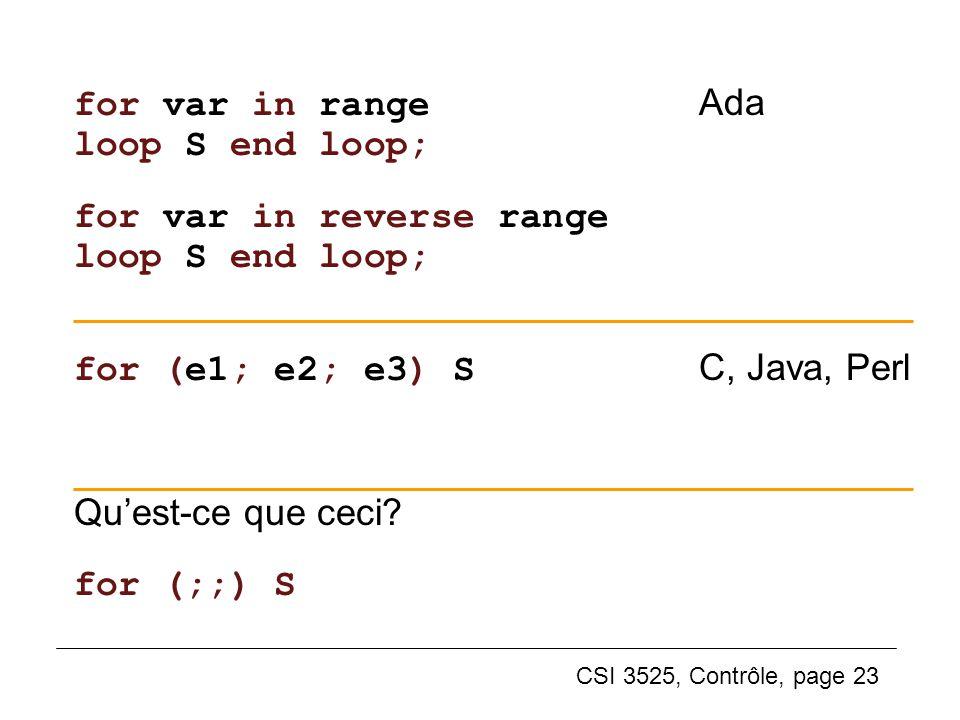 for var in range Ada loop S end loop;