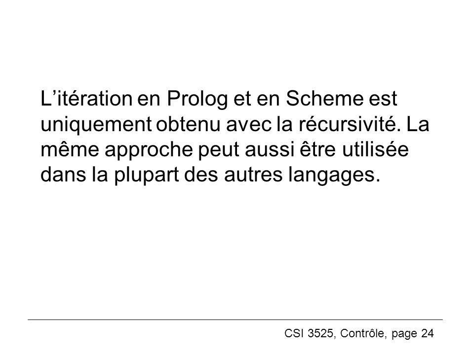 L'itération en Prolog et en Scheme est uniquement obtenu avec la récursivité.