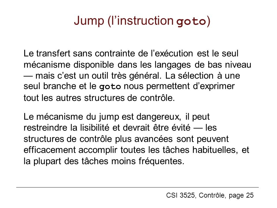 Jump (l'instruction goto)