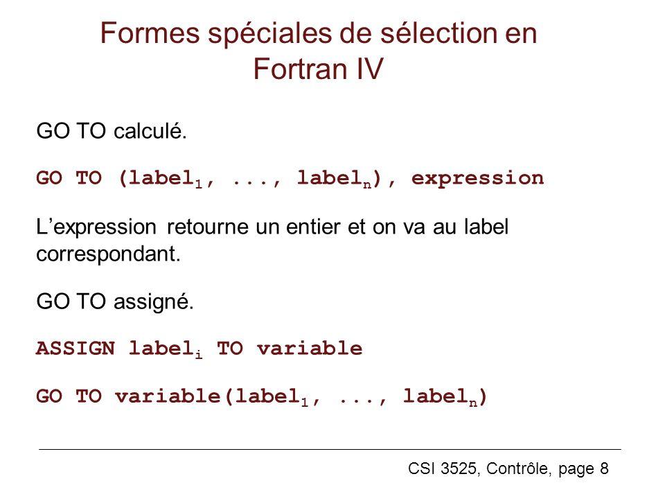 Formes spéciales de sélection en Fortran IV