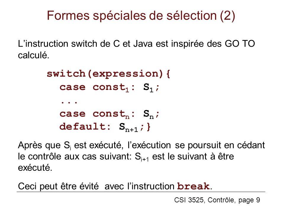 Formes spéciales de sélection (2)