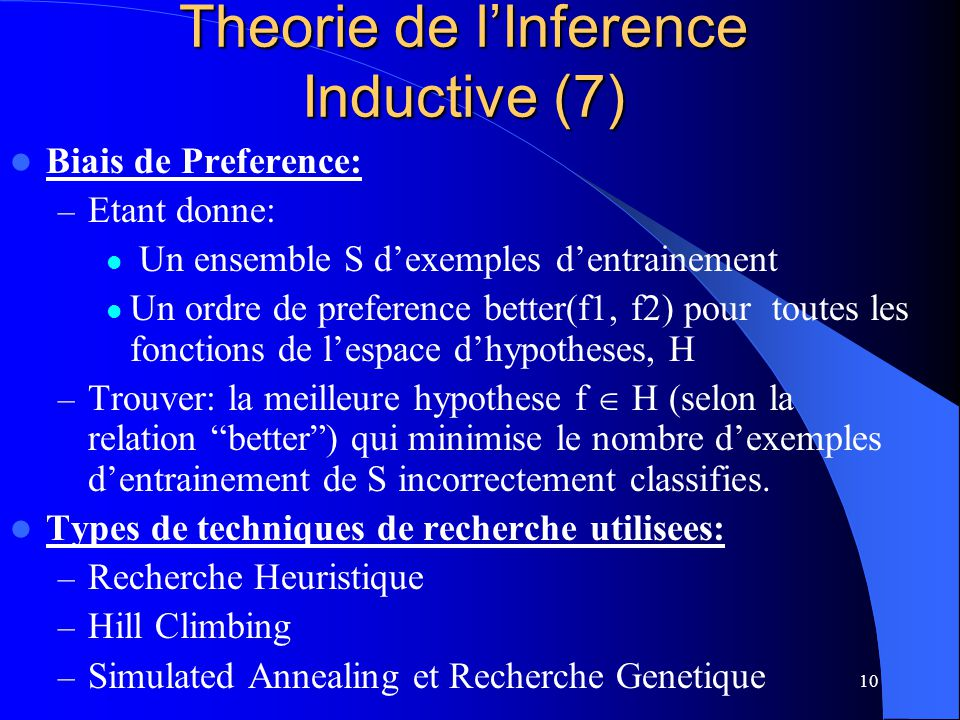 Theorie de l'Inference Inductive (7)