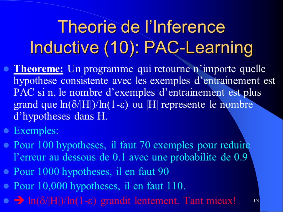 Theorie de l'Inference Inductive (10): PAC-Learning