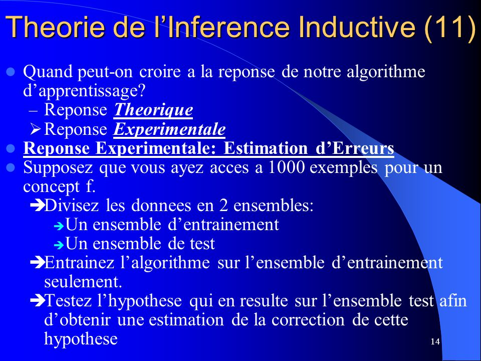 Theorie de l'Inference Inductive (11)