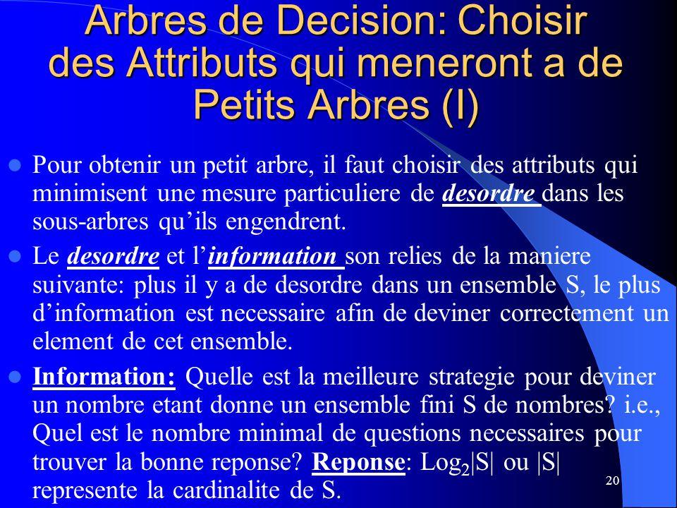 Arbres de Decision: Choisir des Attributs qui meneront a de Petits Arbres (I)