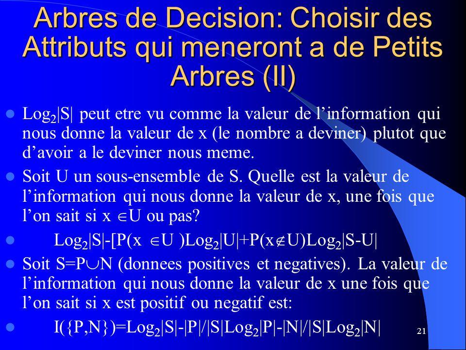 Arbres de Decision: Choisir des Attributs qui meneront a de Petits Arbres (II)