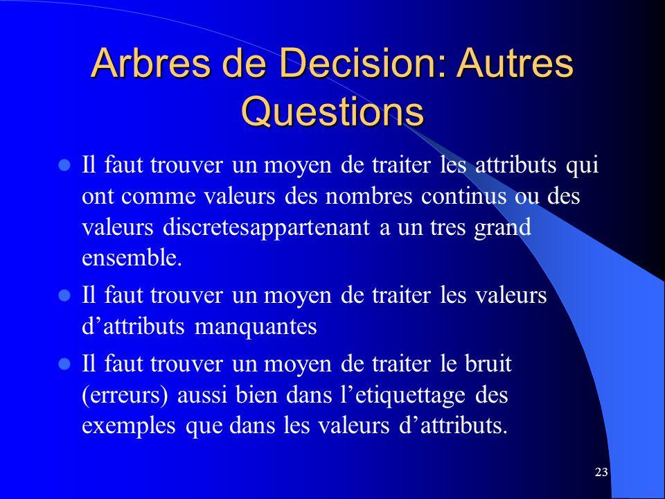 Arbres de Decision: Autres Questions