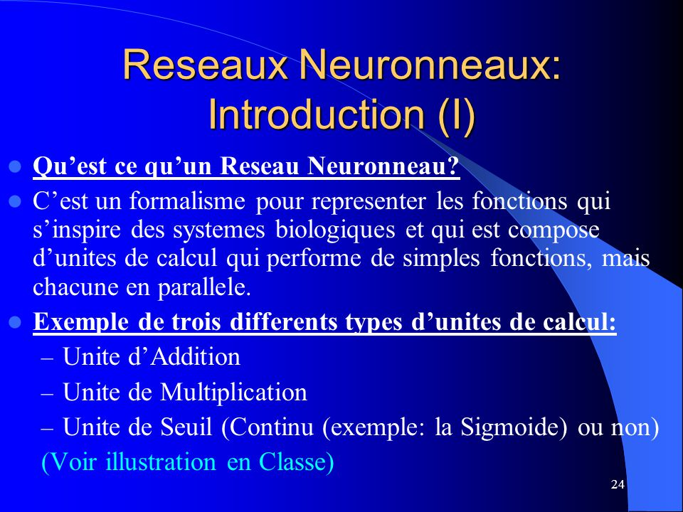 Reseaux Neuronneaux: Introduction (I)