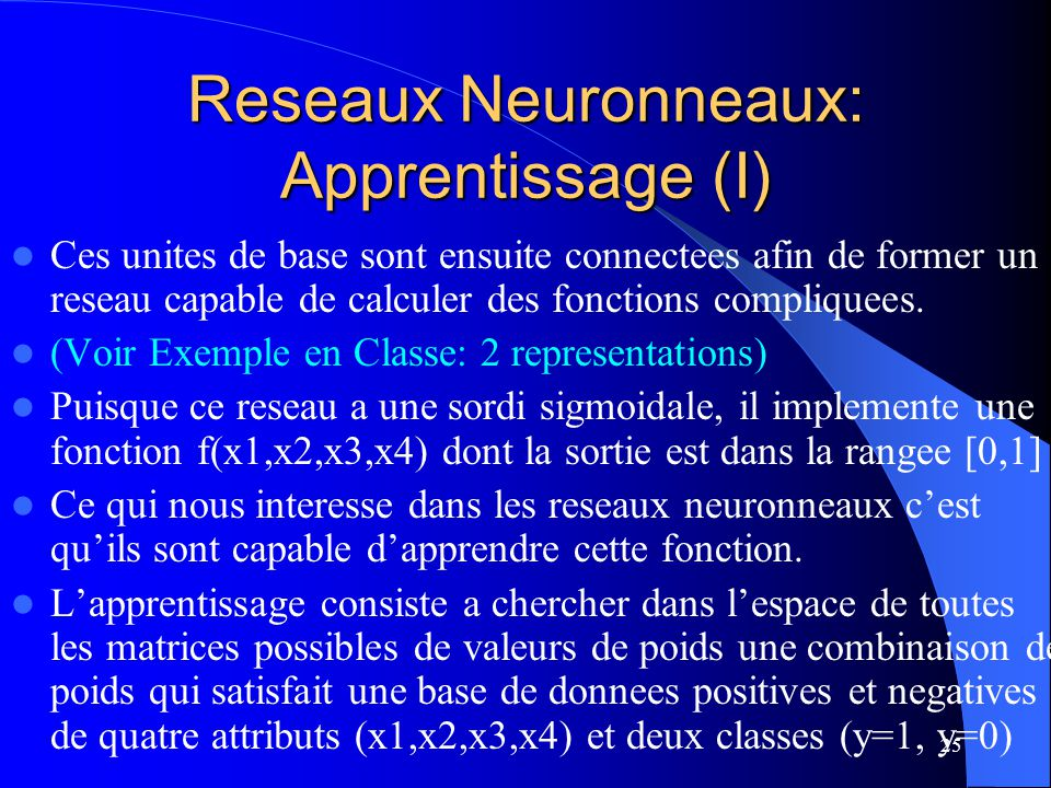 Reseaux Neuronneaux: Apprentissage (I)
