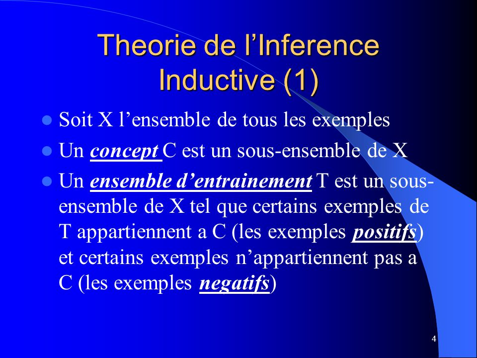 Theorie de l'Inference Inductive (1)