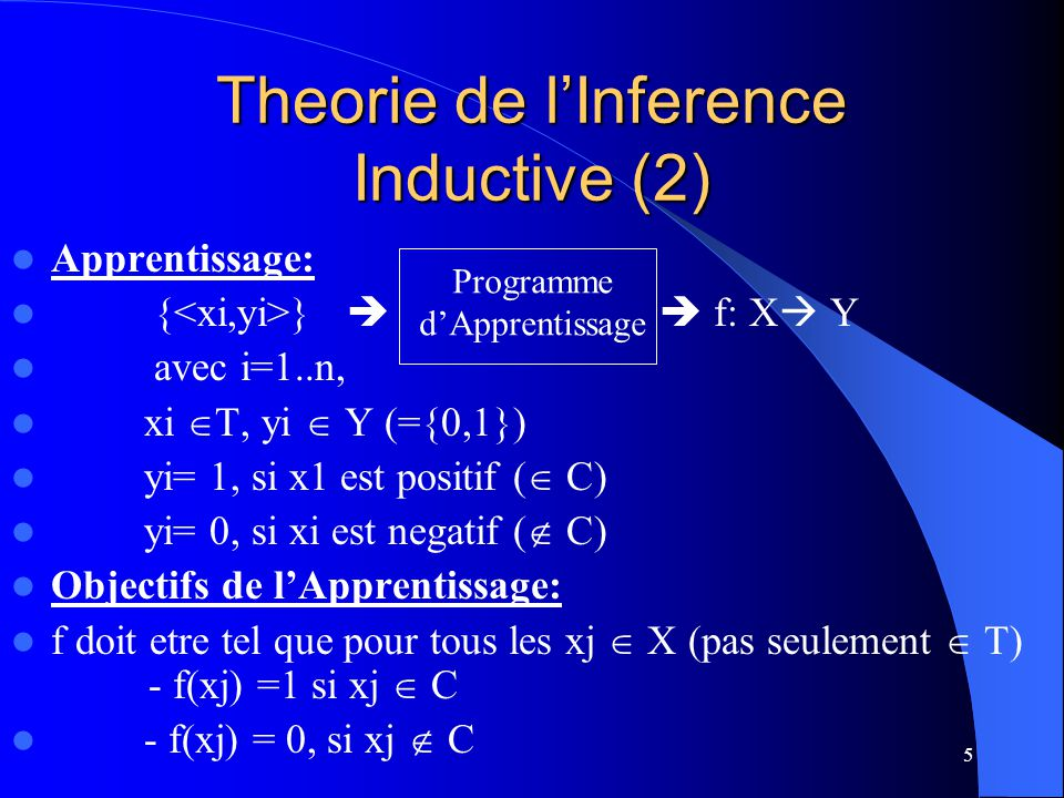 Theorie de l'Inference Inductive (2)