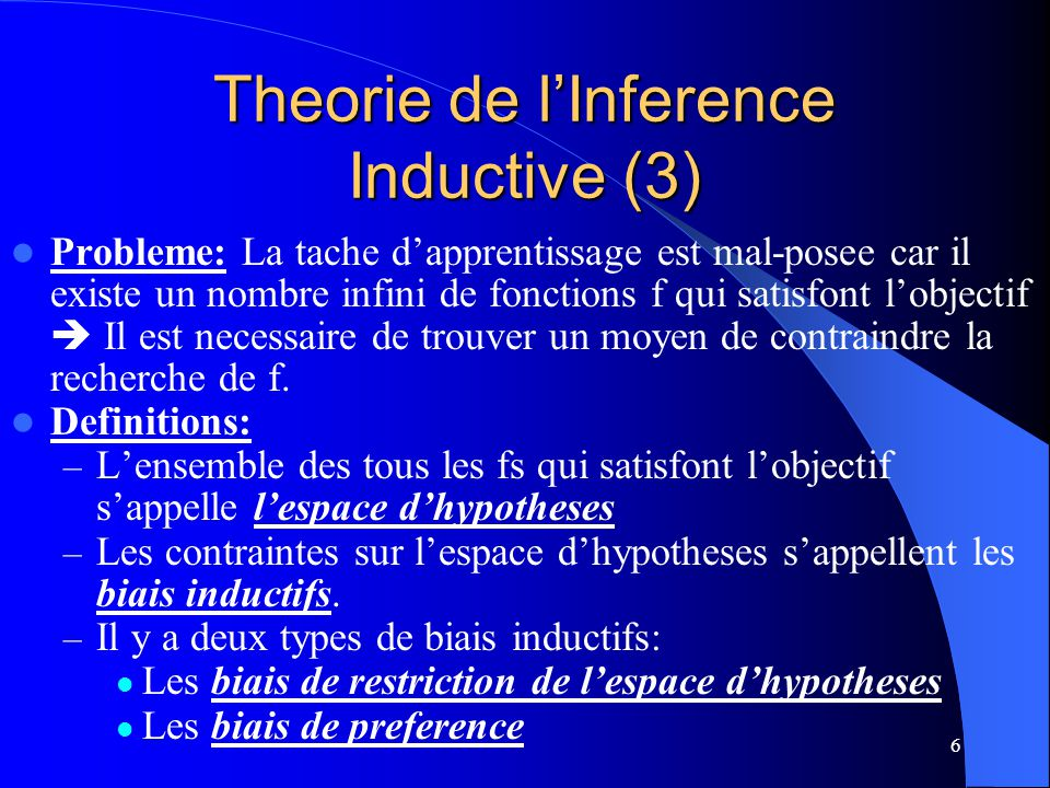Theorie de l'Inference Inductive (3)