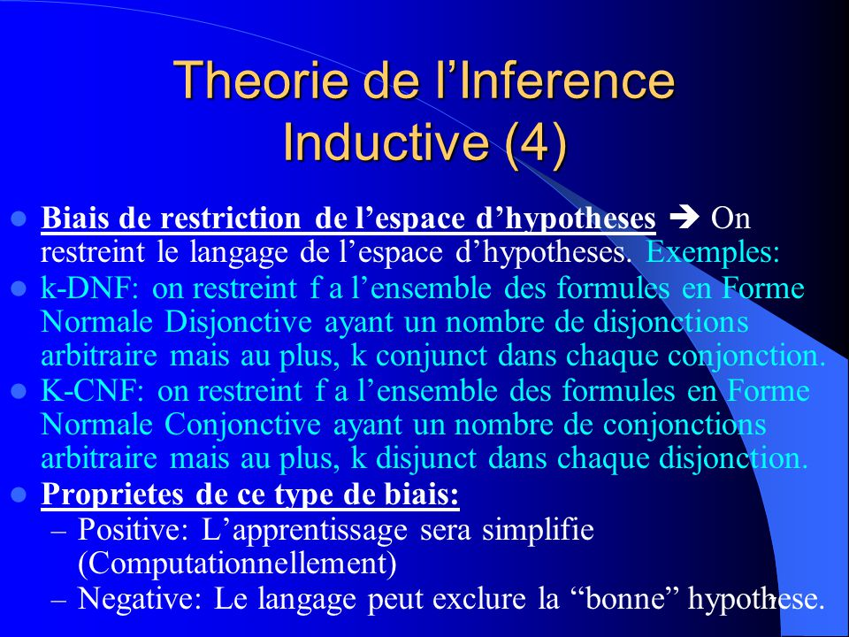 Theorie de l'Inference Inductive (4)