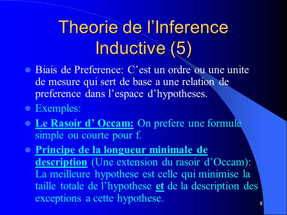 Theorie de l'Inference Inductive (5)