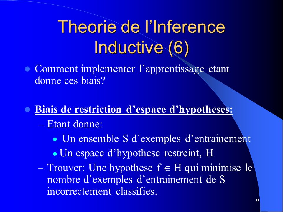 Theorie de l'Inference Inductive (6)