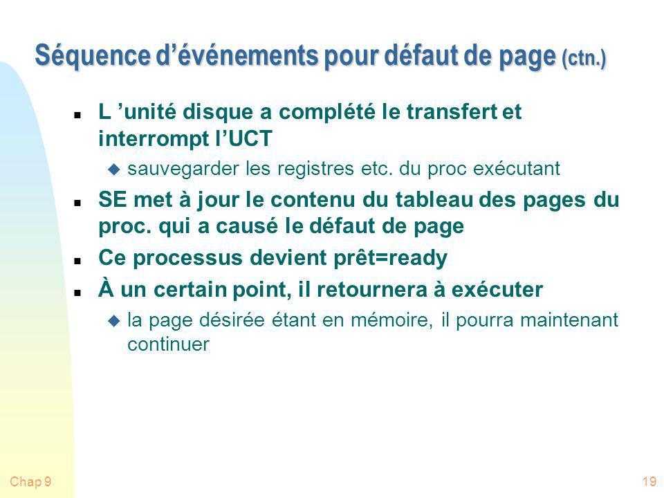 Séquence d'événements pour défaut de page (ctn.)