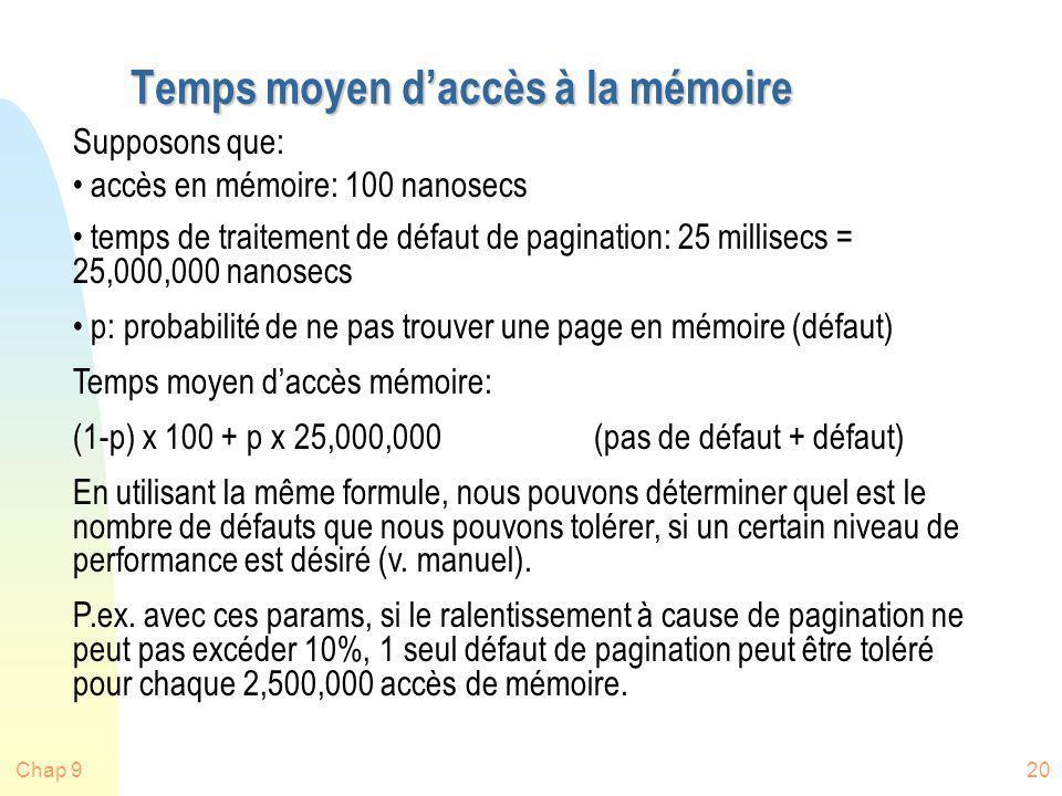 Temps moyen d'accès à la mémoire