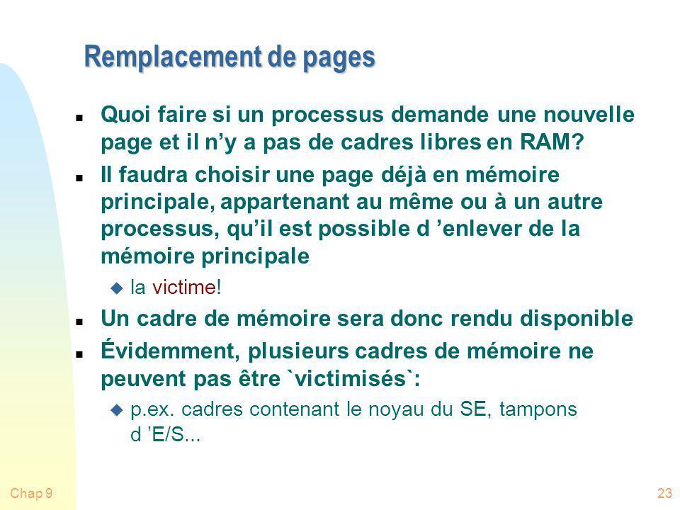 Remplacement de pages Quoi faire si un processus demande une nouvelle page et il n'y a pas de cadres libres en RAM