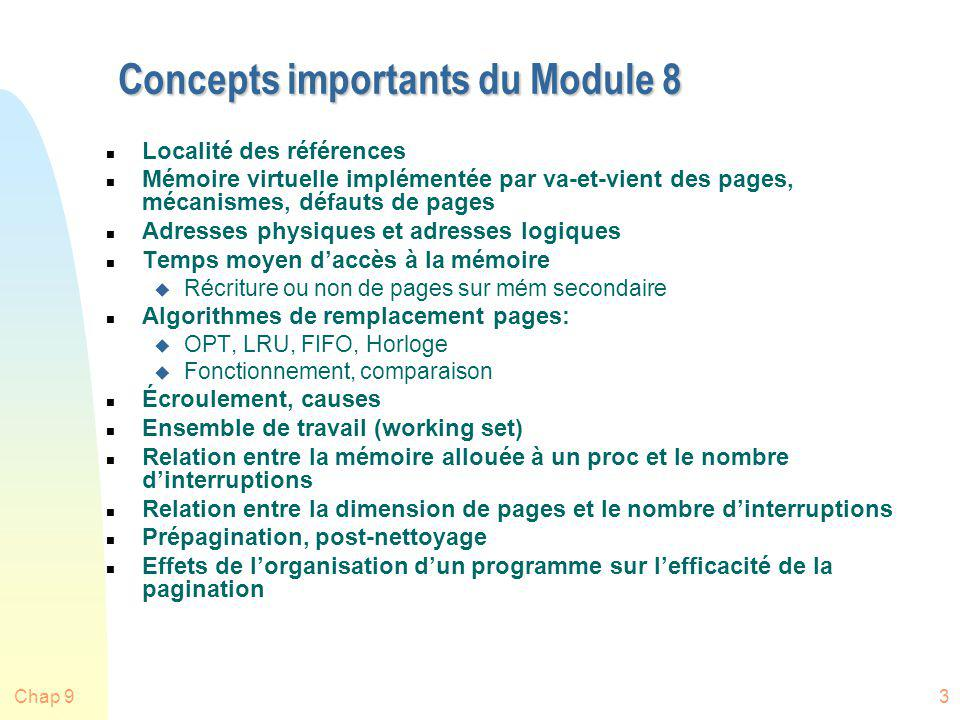Concepts importants du Module 8