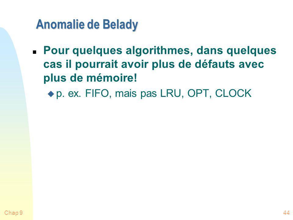 Anomalie de Belady Pour quelques algorithmes, dans quelques cas il pourrait avoir plus de défauts avec plus de mémoire!