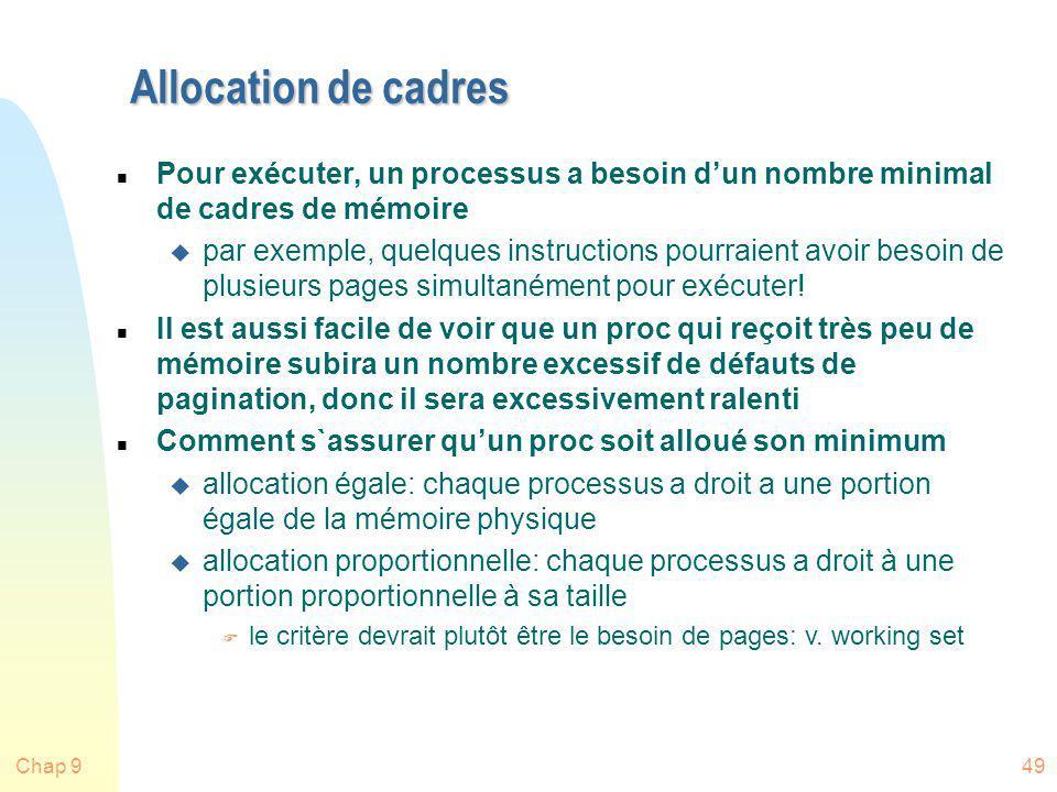 Allocation de cadres Pour exécuter, un processus a besoin d'un nombre minimal de cadres de mémoire.