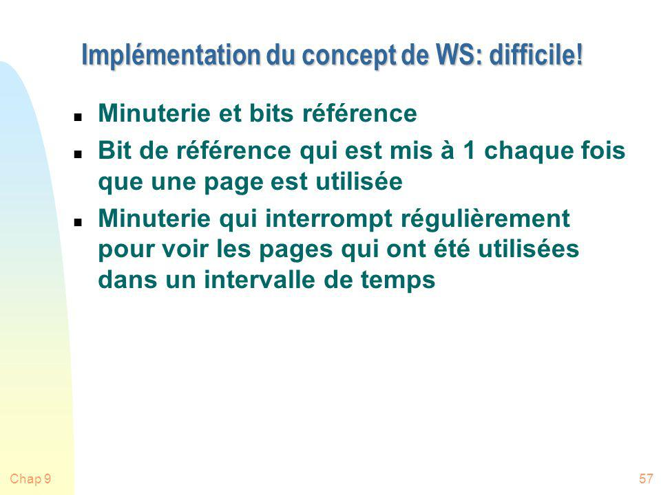Implémentation du concept de WS: difficile!