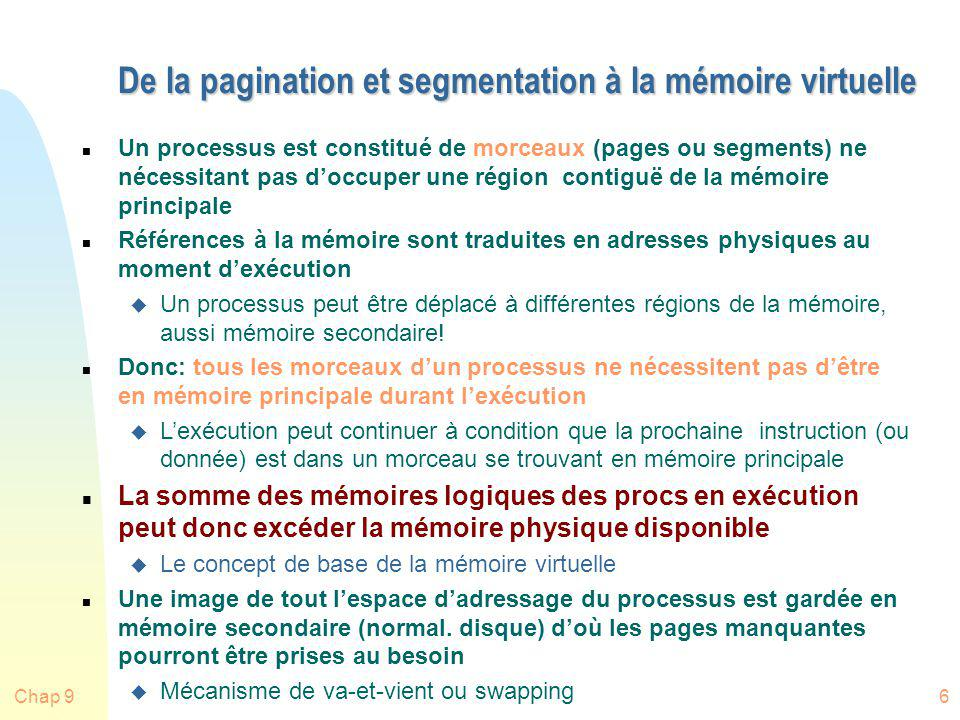 De la pagination et segmentation à la mémoire virtuelle
