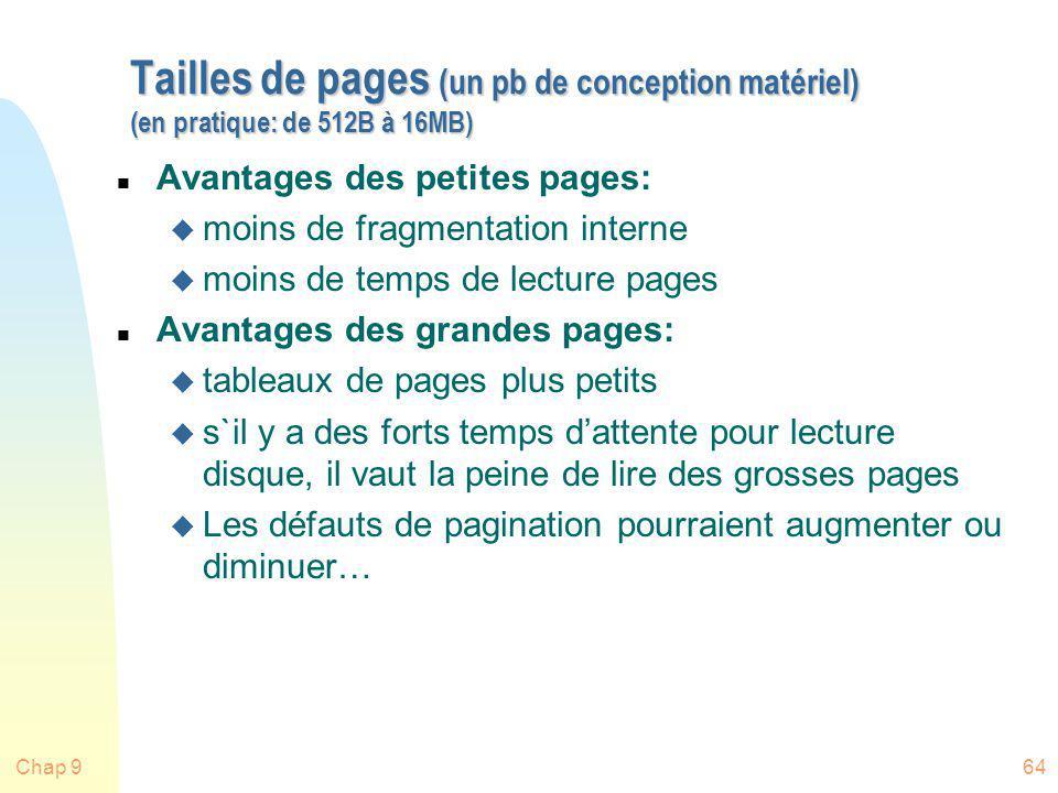 Tailles de pages (un pb de conception matériel) (en pratique: de 512B à 16MB)