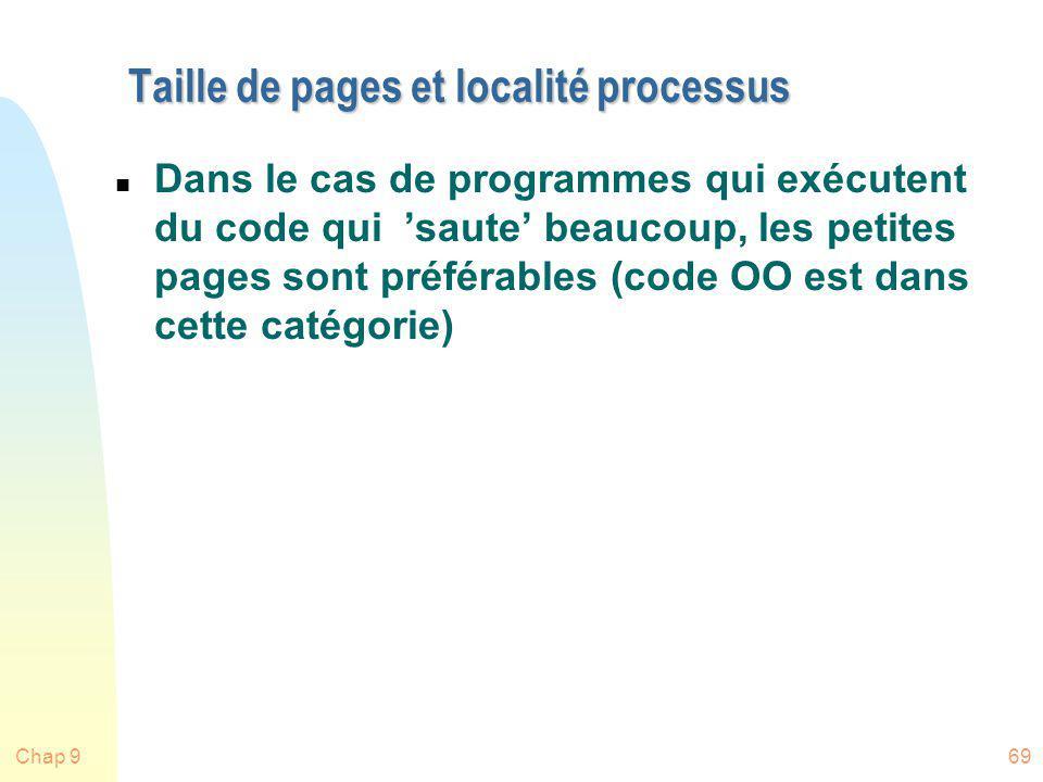 Taille de pages et localité processus