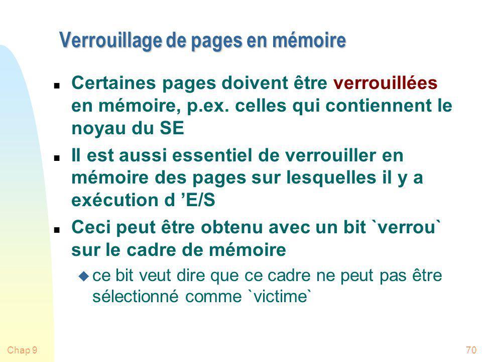 Verrouillage de pages en mémoire