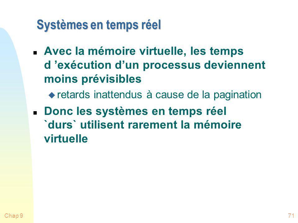 Systèmes en temps réel Avec la mémoire virtuelle, les temps d 'exécution d'un processus deviennent moins prévisibles.